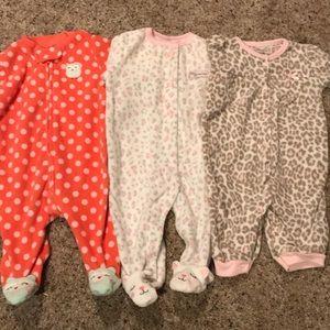 Set of 3 Carter's infant girl sleepers